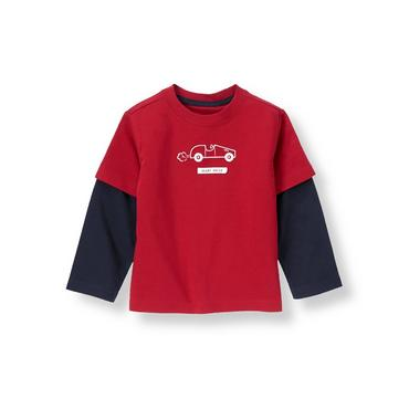 Cupid Red Valentine Car Double Sleeve Tee at JanieandJack