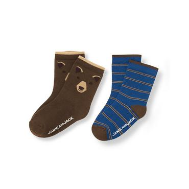 Boys Bear Brown/River Blue Bear Stripe Sock Two-Pack at JanieandJack