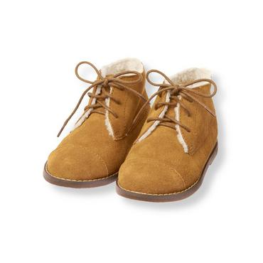 Honey Brown Sherpa Trim Suede Boot at JanieandJack