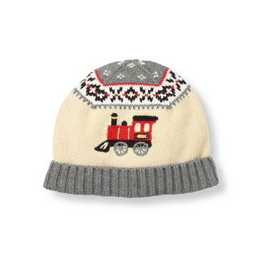 Boys Winter Grey Fair Isle Train Fair Isle Sweater Hat at JanieandJack