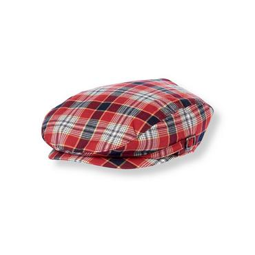 Boys Marine Red Plaid Plaid Poplin Cap at JanieandJack