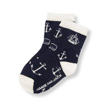 Boys Nautical Navy Anchor Sock at JanieandJack