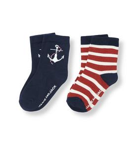 Anchor Stripe Sock Two-Pack