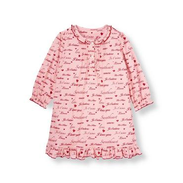 Sweetheart Pink Sweetheart Ruffled Nightgown at JanieandJack