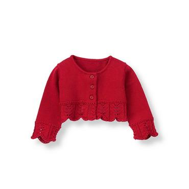 Holiday Red Pointelle Crop Cardigan at JanieandJack