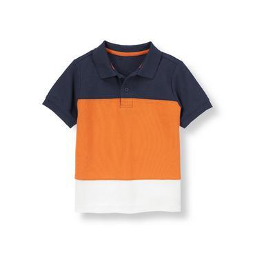Dark Orange/Navy Pieced Colorblock Polo Shirt at JanieandJack