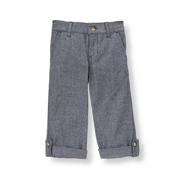 Navy Herringbone Herringbone Roll Cuff Pant at JanieandJack