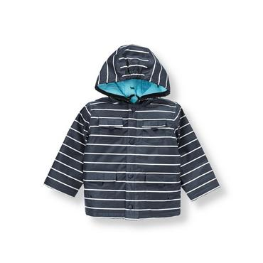 Dark Navy Stripe Stripe Hooded Rain Jacket at JanieandJack