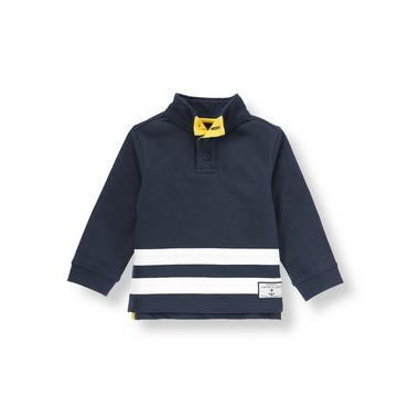 Dark Navy Stripe Terry Pullover at JanieandJack