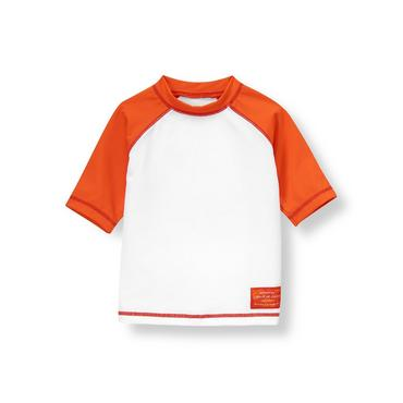 White/Orange Hibiscus Tropical Rash Guard at JanieandJack