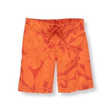 Orange Hibiscus Tropical Swim Trunk at JanieandJack