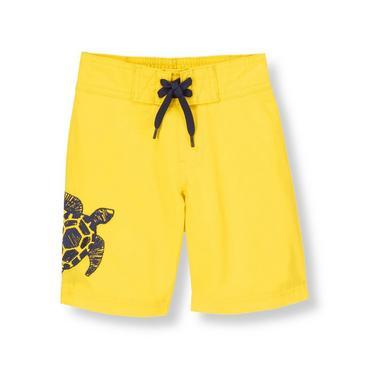 Bright Yellow Turtle Swim Trunk at JanieandJack