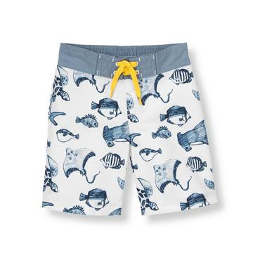 White/Blue Fish Sea Creatures Swim Trunk at JanieandJack