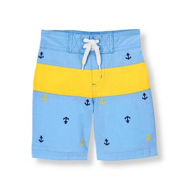 Seaside Blue Anchor Stripe Swim Trunk at JanieandJack