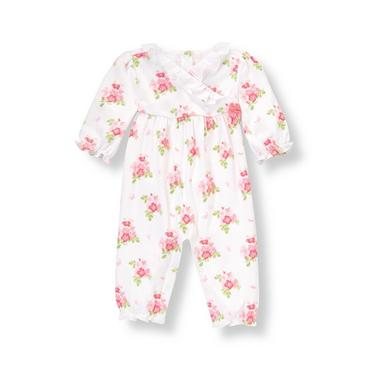 Baby Girl Pink Bouquet Ruffle Floral Kimono One-Piece at JanieandJack
