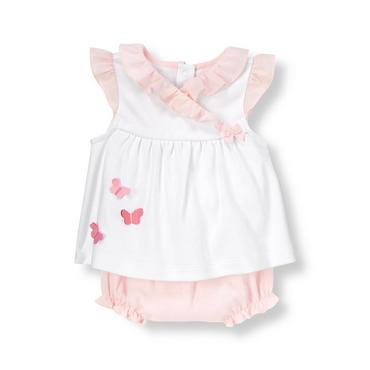 Pure White/Butterfly Pink Butterfly Ruffle Two-Piece Ensemble at JanieandJack