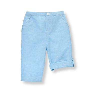 Blue Linen Linen Blend Roll Cuff Pant at JanieandJack