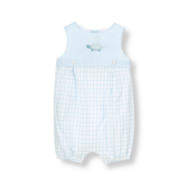 Baby Boy Turtle Blue Plaid Turtle Plaid One-Piece at JanieandJack