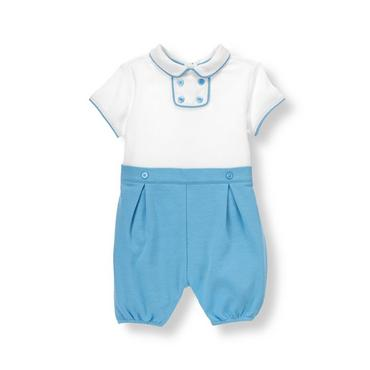 Baby Boy White/Lagoon Blue Piped One-Piece at JanieandJack