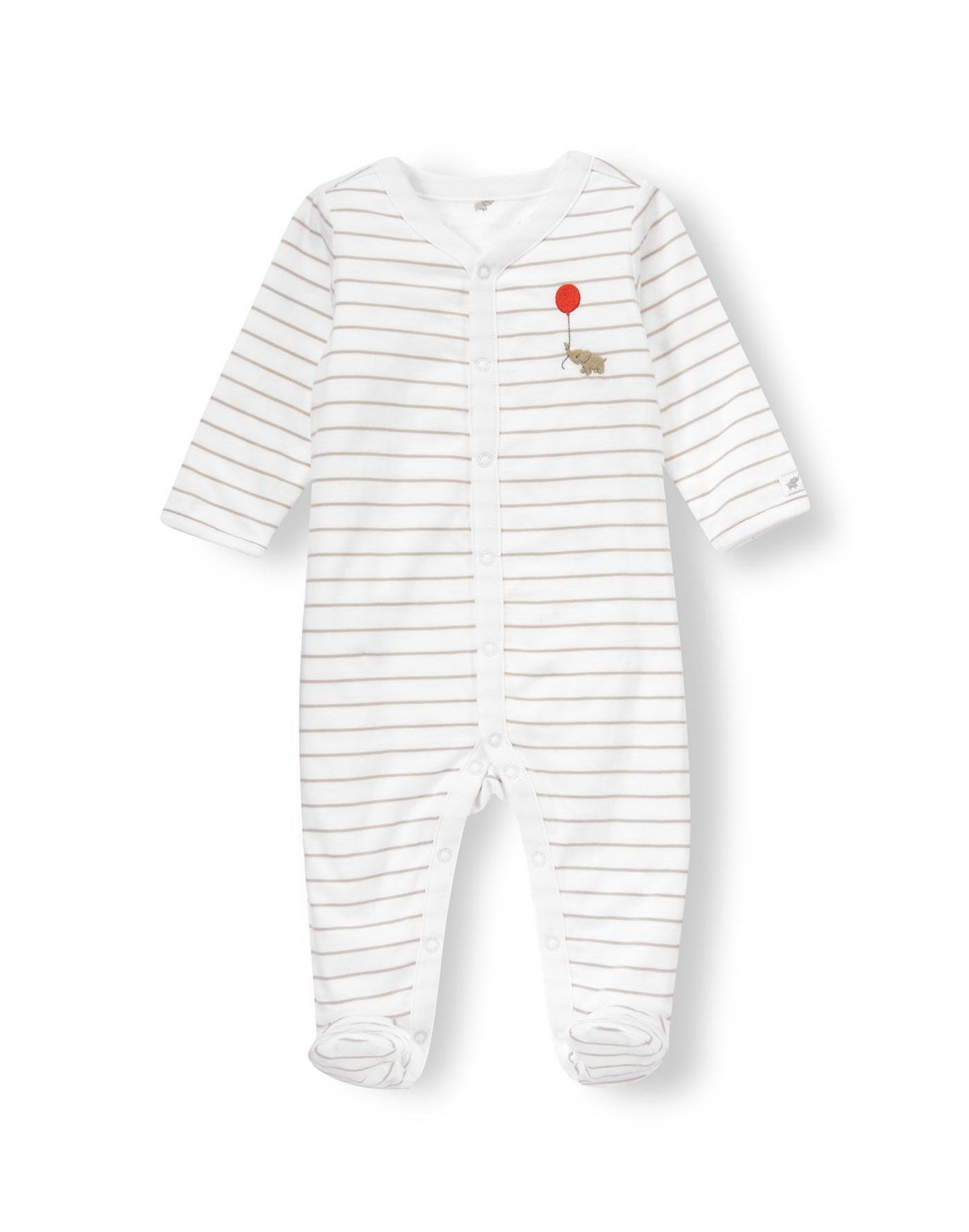 Baby Girl Pure White Stripe/Elephant Elephant Stripe