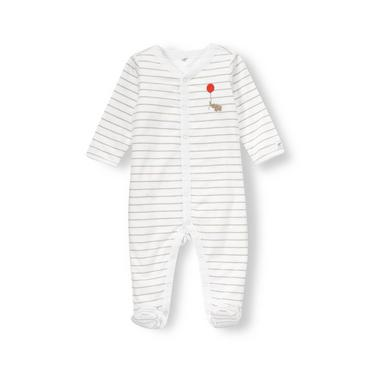 Baby Girl Pure White Stripe/Elephant Elephant Stripe Reversible One-Piece at JanieandJack