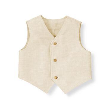 Baby Boy Heathered Khaki Linen Blend Suit Vest at JanieandJack