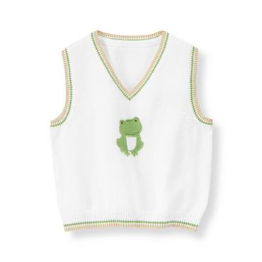 Baby Boy Pure White Frog Sweater Vest at JanieandJack