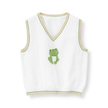 Baby Boy Pure White Frog Sweater Vest at JanieandJack