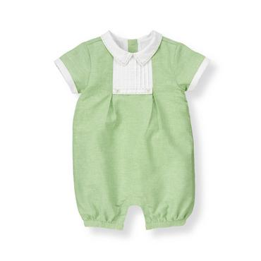 Baby Boy Reed Green Pintucked Linen Blend One-Piece at JanieandJack