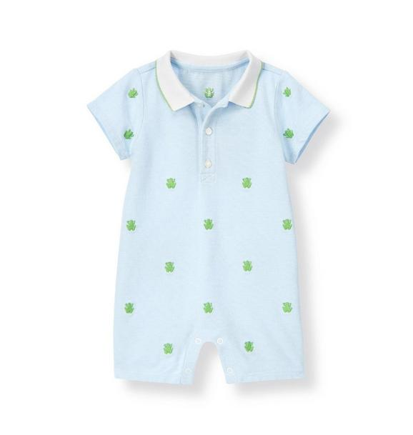 Frog Embroidered Polo One-Piece