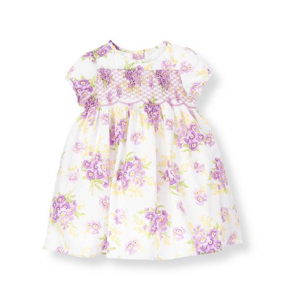 Hand-Smocked Stripe Dobby Floral Dress