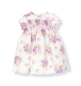 Hand-Smocked Stripe Dobby Floral Dress