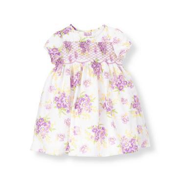 Baby Girl Purple Pansy Hand-Smocked Stripe Dobby Floral Dress at JanieandJack