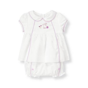 Baby Girl Pure White Bunny Sateen Two-Piece Set at JanieandJack
