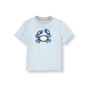 Hazy Blue Stripe Crab Stripe Tee at JanieandJack