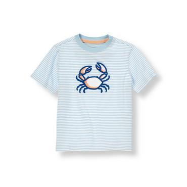 Hazy Blue Stripe Crab Stripe Tee at JanieandJack