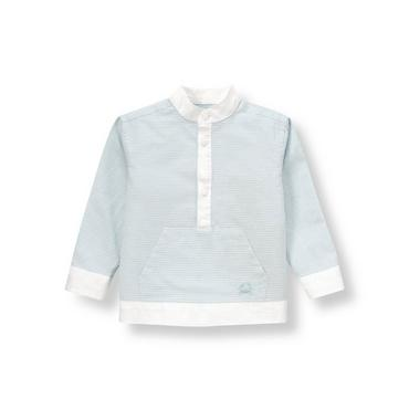 Hazy Blue Stripe Stripe Linen Blend Pullover Shirt at JanieandJack