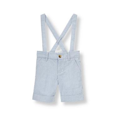 Steel Blue Stripe Stripe Seersucker Suspender Short at JanieandJack