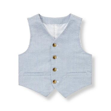 Steel Blue Stripe Stripe Seersucker Suit Vest at JanieandJack