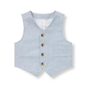 Steel Blue Stripe Stripe Seersucker Suit Vest at JanieandJack