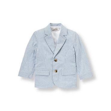 Steel Blue Stripe Stripe Seersucker Suit Blazer at JanieandJack
