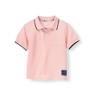 Classic Pink Tipped Pique Polo Shirt at JanieandJack
