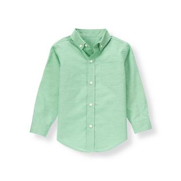 Derby Green Woven Dress Shirt at JanieandJack