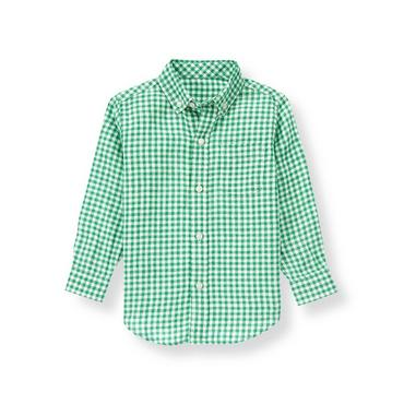 Derby Green Check Gingham Linen Shirt at JanieandJack