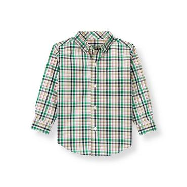 Classic Pink Plaid Plaid Poplin Shirt at JanieandJack