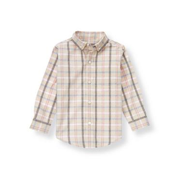 Khaki Plaid Plaid Twill Shirt at JanieandJack