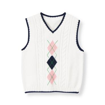 Pure White Argyle Cable Sweater Vest at JanieandJack
