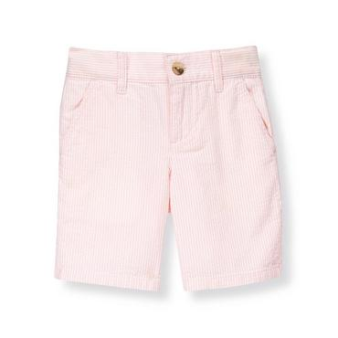 Boys Light Pink Stripe Stripe Seersucker Short at JanieandJack