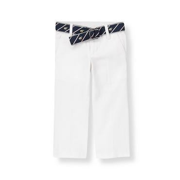 Boys Pure White Belted Twill Pant at JanieandJack