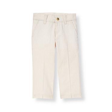 Boys Khaki Stripe Stripe Seersucker Suit Trouser at JanieandJack